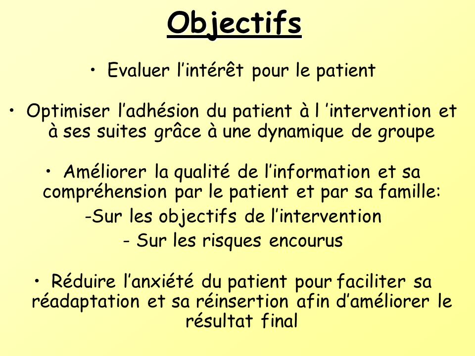 Objectifs Evaluer lintérêt pour le patient Optimiser ladhésion du patient à l intervention et à ses suites grâce à une dynamique de groupe Améliorer l