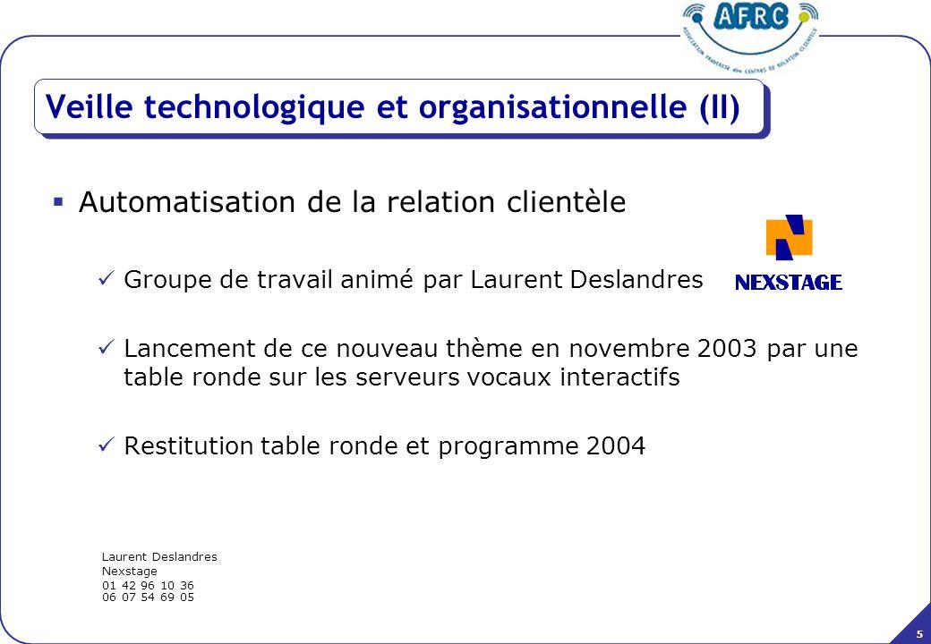 5 Veille technologique et organisationnelle (II) Automatisation de la relation clientèle Groupe de travail animé par Laurent Deslandres Lancement de c