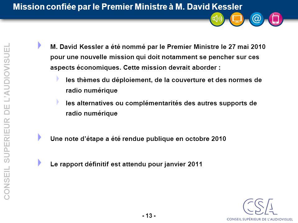 - 13 - CONSEIL SUPERIEUR DE LAUDIOVISUEL Mission confiée par le Premier Ministre à M.