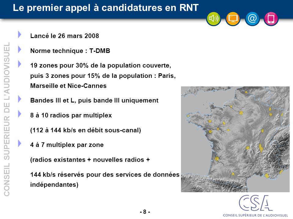 - 8 - CONSEIL SUPERIEUR DE LAUDIOVISUEL Le premier appel à candidatures en RNT Lancé le 26 mars 2008 Norme technique : T-DMB 19 zones pour 30% de la population couverte, puis 3 zones pour 15% de la population : Paris, Marseille et Nice-Cannes Bandes III et L, puis bande III uniquement 8 à 10 radios par multiplex (112 à 144 kb/s en débit sous-canal) 4 à 7 multiplex par zone (radios existantes + nouvelles radios + 144 kb/s réservés pour des services de données indépendantes)