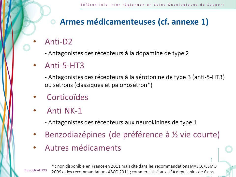 Copyright AFSOS 10 Armes médicamenteuses (cf. annexe 1) Anti-D2 - Antagonistes des récepteurs à la dopamine de type 2 Anti-5-HT3 - Antagonistes des ré