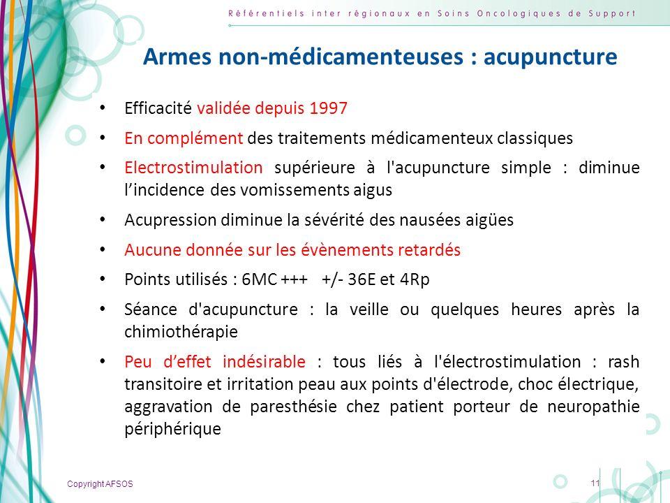 Copyright AFSOS 11 Armes non-médicamenteuses : acupuncture Efficacité validée depuis 1997 En complément des traitements médicamenteux classiques Elect
