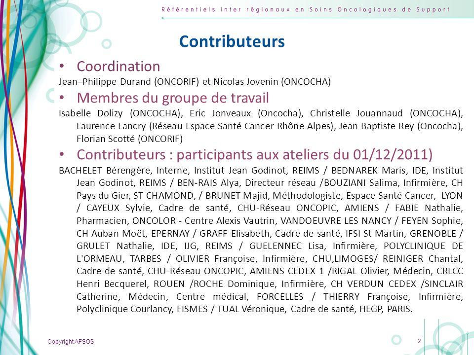 Copyright AFSOS 23 Niveau émétisant (incidence) Très faiblement (< 10%) Chlorambucil Hydroxyurée L-Phentalalanine mustard 6-Thioguanine Methotrexate Gefitinib Erlotinib Sorafenib Niveau émétisant de chaque molécule – médicaments per os (daprès les recommandations MASCC/ESMO 2009 – Ann Oncol21 (Supp 5): v232–v243, 2010) Médicaments per os (3/3)