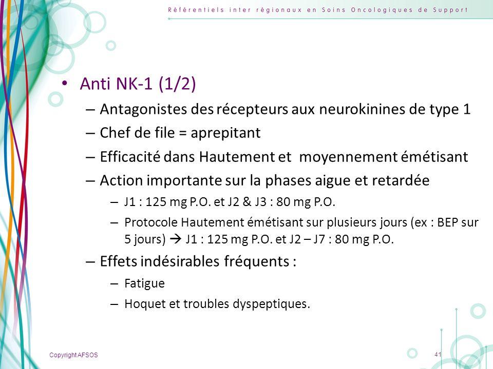 Copyright AFSOS 41 Anti NK-1 (1/2) – Antagonistes des récepteurs aux neurokinines de type 1 – Chef de file = aprepitant – Efficacité dans Hautement et