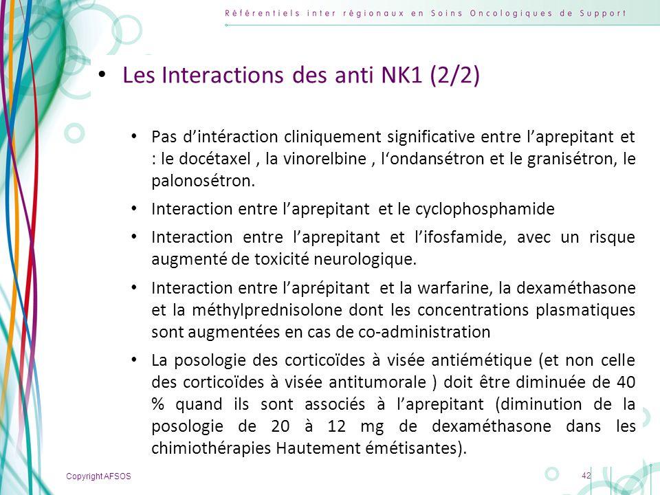 Copyright AFSOS 42 Les Interactions des anti NK1 (2/2) Pas dintéraction cliniquement significative entre laprepitant et : le docétaxel, la vinorelbine