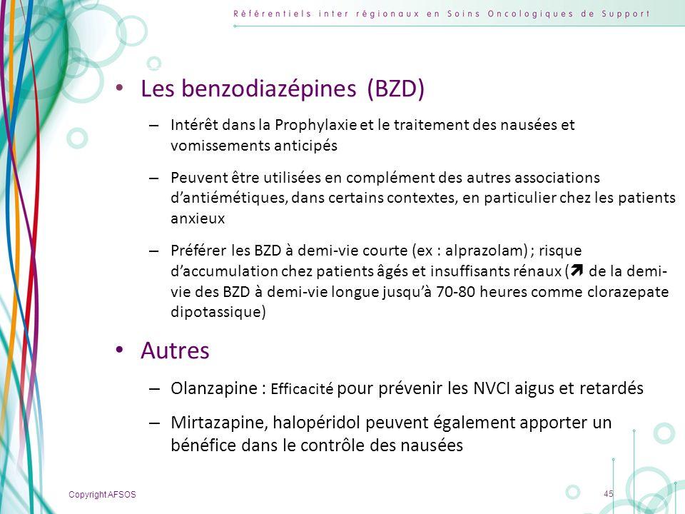 Copyright AFSOS 45 Les benzodiazépines (BZD) – Intérêt dans la Prophylaxie et le traitement des nausées et vomissements anticipés – Peuvent être utili
