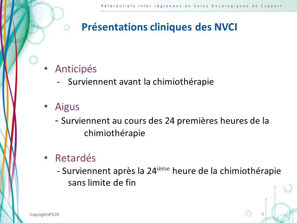 Copyright AFSOS 5 Présentations cliniques des NVCI Anticipés -Surviennent avant la chimiothérapie Aigus - Surviennent au cours des 24 premières heures