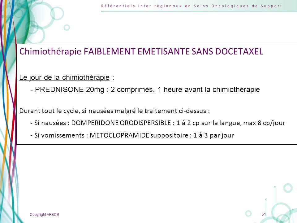 Copyright AFSOS 51 Chimiothérapie FAIBLEMENT EMETISANTE SANS DOCETAXEL Le jour de la chimiothérapie : - PREDNISONE 20mg : 2 comprimés, 1 heure avant l