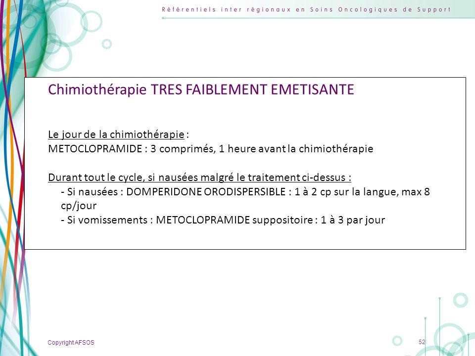Copyright AFSOS 52 Chimiothérapie TRES FAIBLEMENT EMETISANTE Le jour de la chimiothérapie : METOCLOPRAMIDE : 3 comprimés, 1 heure avant la chimiothéra