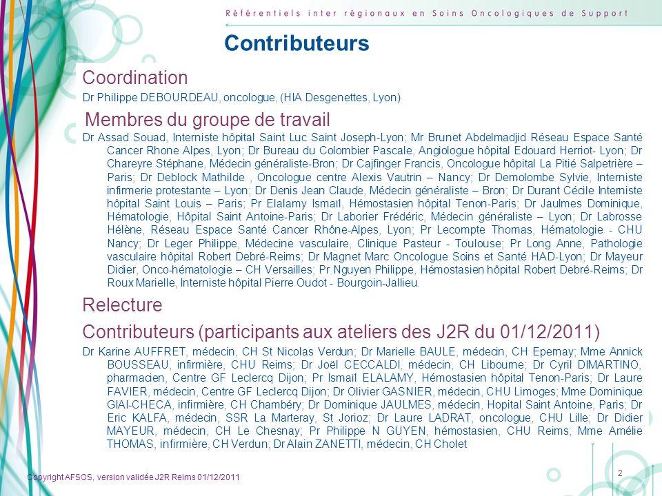 Copyright AFSOS, version validée J2R Reims 01/12/2011 Sommaire du référentiel Méthodologie…………………………………………………………..................................4 Population cibles………………………………………………………....