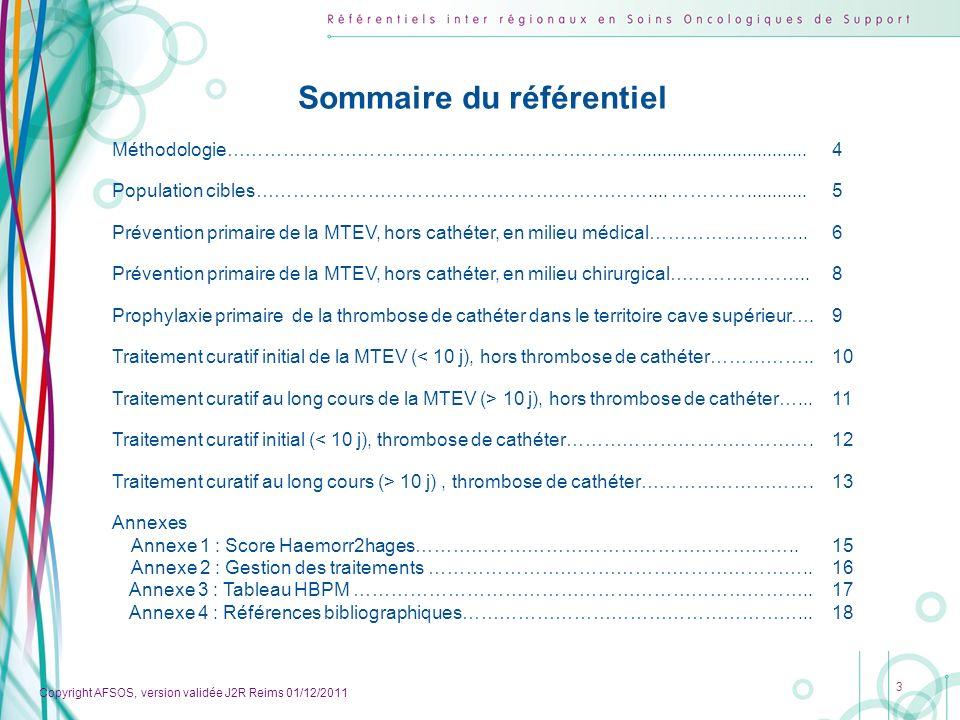 Copyright AFSOS, version validée J2R Reims 01/12/2011 Annexes 14