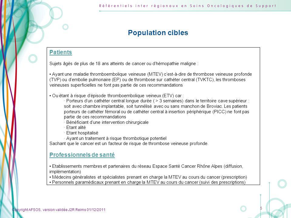 Copyright AFSOS, version validée J2R Reims 01/12/2011 16 Gestion des traitements 1.