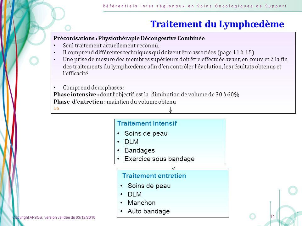 Copyright AFSOS, version validée du 03/12/2010 10 Traitement du Lymphœdème Préconisations : Physiothérapie Décongestive Combinée Seul traitement actue
