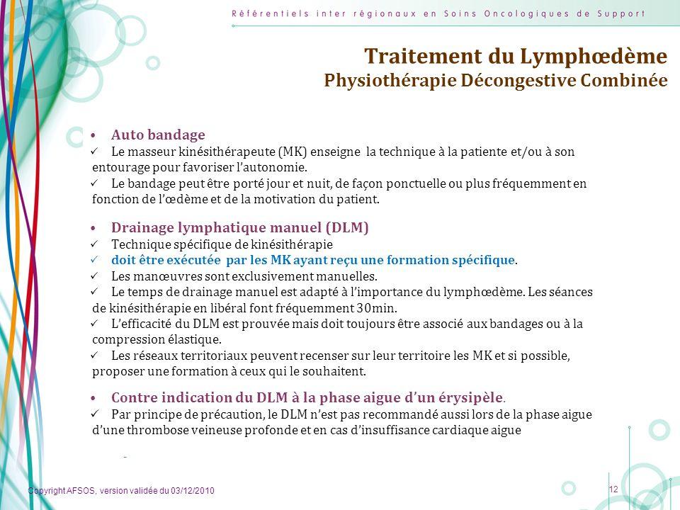 Copyright AFSOS, version validée du 03/12/2010 12 Traitement du Lymphœdème Physiothérapie Décongestive Combinée Auto bandage Le masseur kinésithérapeu