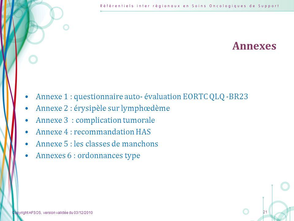 Copyright AFSOS, version validée du 03/12/2010 21 Annexes Annexe 1 : questionnaire auto- évaluation EORTC QLQ -BR23 Annexe 2 : érysipèle sur lymphœdèm