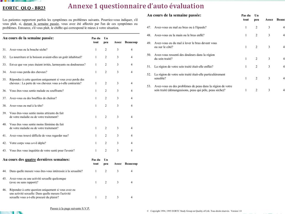 Copyright AFSOS, version validée du 03/12/2010 22 Annexe 1 questionnaire dauto évaluation