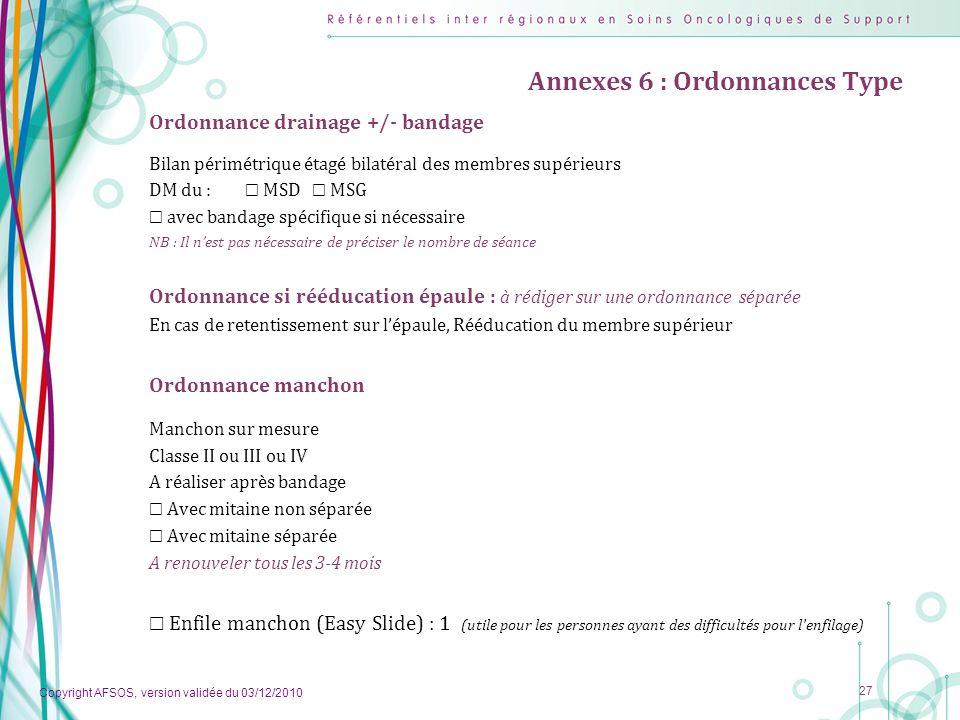 Copyright AFSOS, version validée du 03/12/2010 27 Annexes 6 : Ordonnances Type Ordonnance drainage +/- bandage Bilan périmétrique étagé bilatéral des