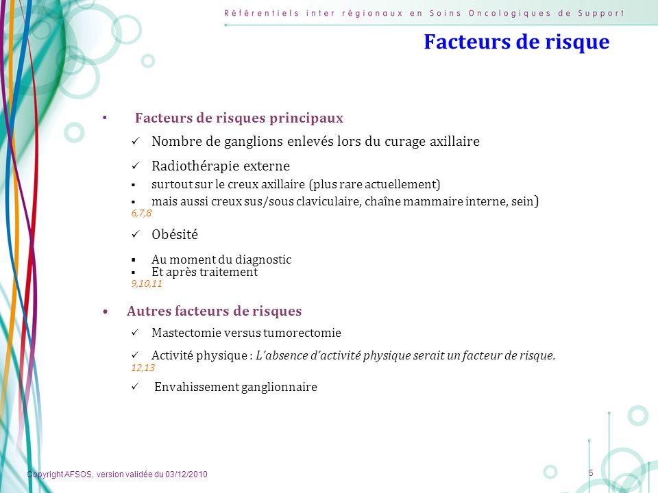Copyright AFSOS, version validée du 03/12/2010 5 Facteurs de risque Facteurs de risques principaux Nombre de ganglions enlevés lors du curage axillair