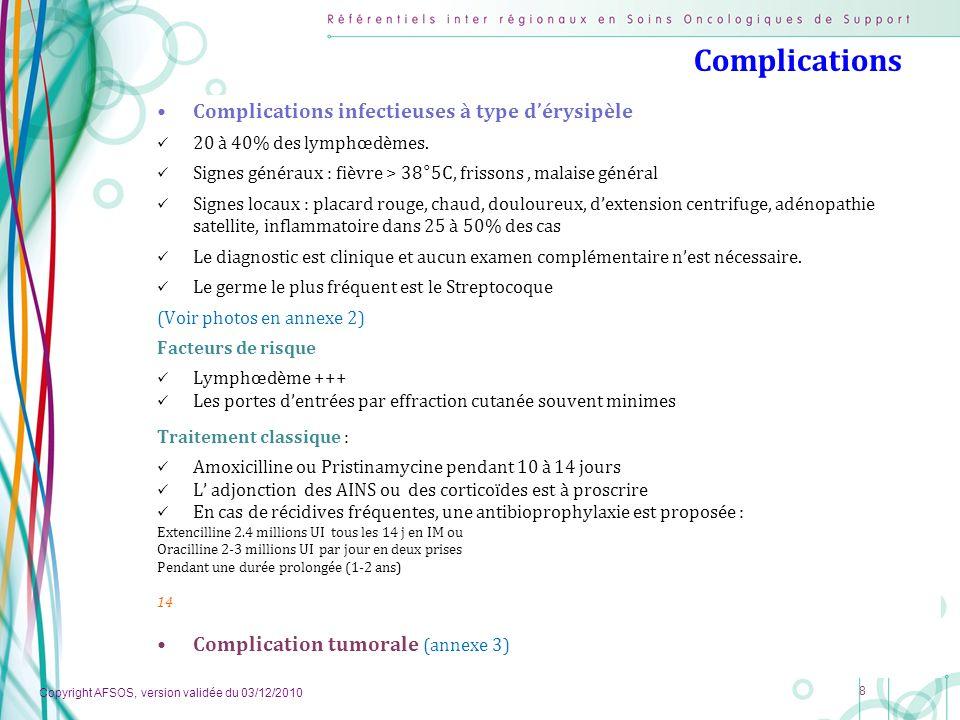 Copyright AFSOS, version validée du 03/12/2010 8 Complications Complications infectieuses à type dérysipèle 20 à 40% des lymphœdèmes. Signes généraux