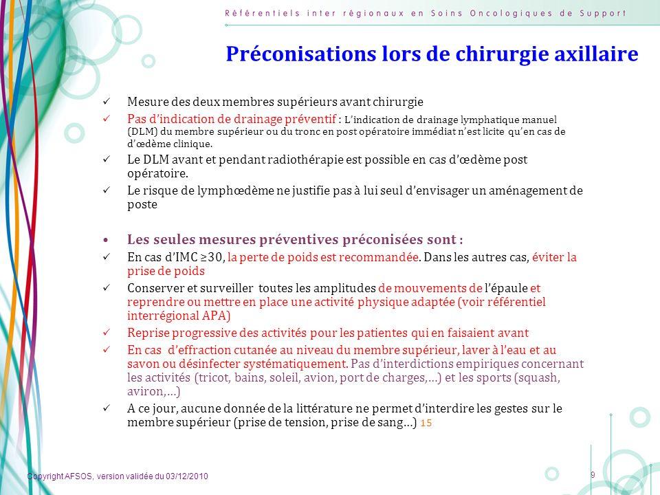 Copyright AFSOS, version validée du 03/12/2010 9 Préconisations lors de chirurgie axillaire Mesure des deux membres supérieurs avant chirurgie Pas din