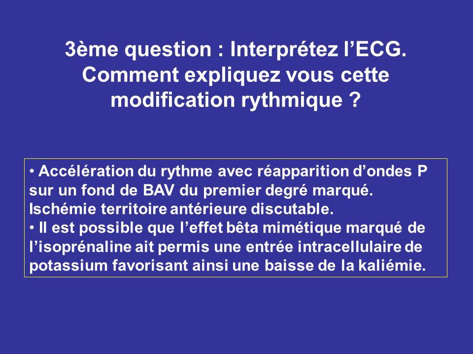 3ème question : Interprétez lECG. Comment expliquez vous cette modification rythmique ? Accélération du rythme avec réapparition dondes P sur un fond