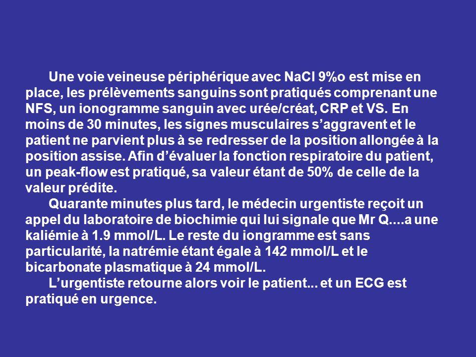 Une voie veineuse périphérique avec NaCl 9%o est mise en place, les prélèvements sanguins sont pratiqués comprenant une NFS, un ionogramme sanguin ave