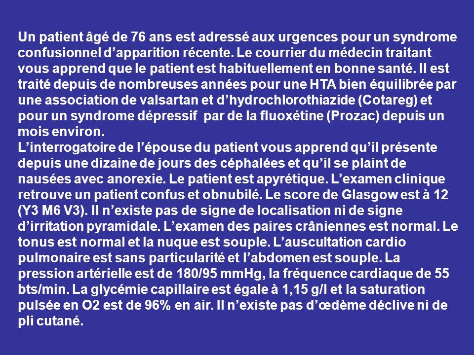Un patient âgé de 76 ans est adressé aux urgences pour un syndrome confusionnel dapparition récente. Le courrier du médecin traitant vous apprend que