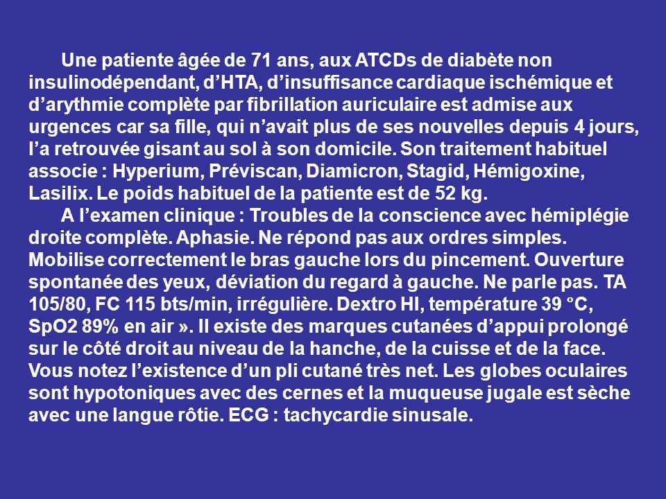 Une patiente âgée de 71 ans, aux ATCDs de diabète non insulinodépendant, dHTA, dinsuffisance cardiaque ischémique et darythmie complète par fibrillati