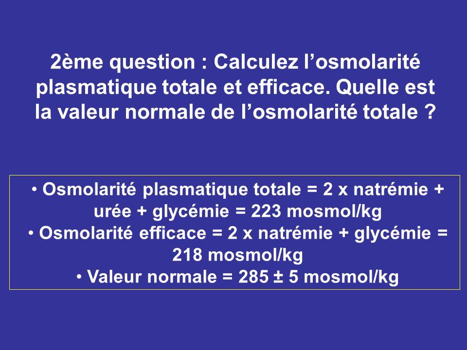 2ème question : Calculez losmolarité plasmatique totale et efficace. Quelle est la valeur normale de losmolarité totale ? Osmolarité plasmatique total