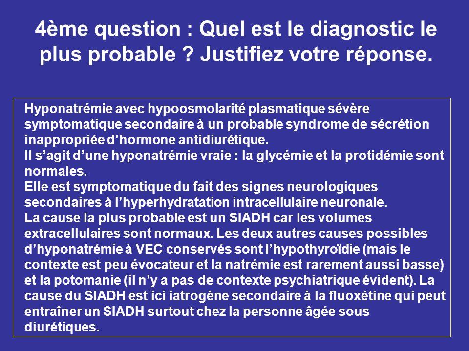 4ème question : Quel est le diagnostic le plus probable ? Justifiez votre réponse. Hyponatrémie avec hypoosmolarité plasmatique sévère symptomatique s