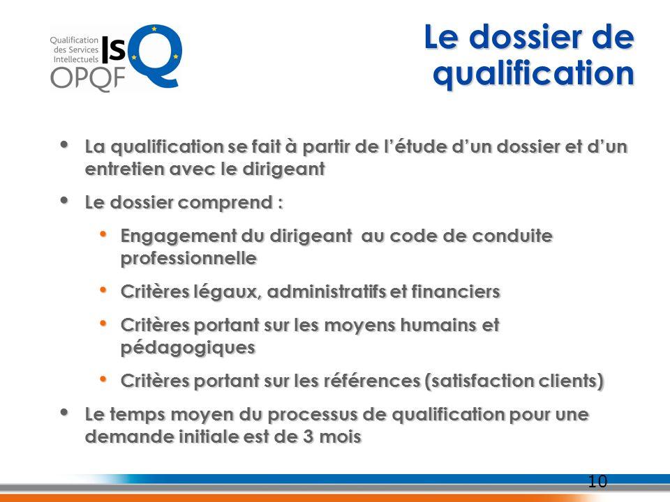 Le dossier de qualification 10 La qualification se fait à partir de létude dun dossier et dun entretien avec le dirigeant La qualification se fait à p