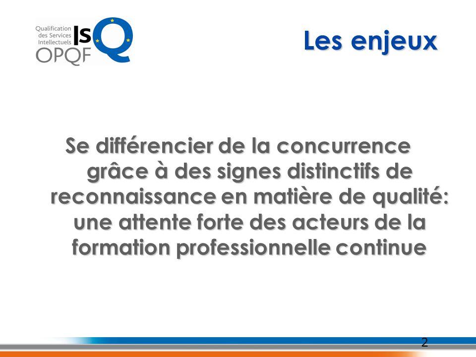 2 Les enjeux Se différencier de la concurrence grâce à des signes distinctifs de reconnaissance en matière de qualité: une attente forte des acteurs d