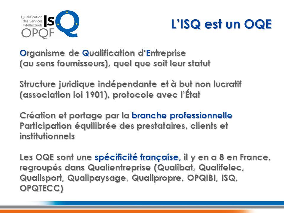 LISQ est un OQE Organisme de Qualification dEntreprise (au sens fournisseurs), quel que soit leur statut Structure juridique indépendante et à but non