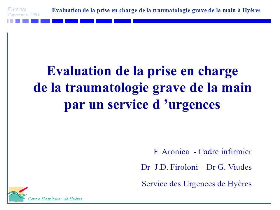 Evaluation de la prise en charge de la traumatologie grave de la main à Hyères F Aronica Copacamu 2005 Centre Hospitalier de Hyères Evaluation de la p