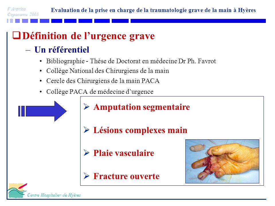 Evaluation de la prise en charge de la traumatologie grave de la main à Hyères F Aronica Copacamu 2005 Centre Hospitalier de Hyères Définition de lurg