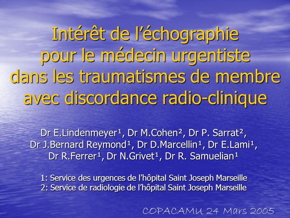 La traumatologie du service en quelques chiffres 43% des patients 43% des patients 7200 patients par an 7200 patients par an 2000 Consultations post-urgences 2000 Consultations post-urgences Entre 15 et 20 % discordance radio- clinique Entre 15 et 20 % discordance radio- clinique COPACAMU 24 Mars 2005