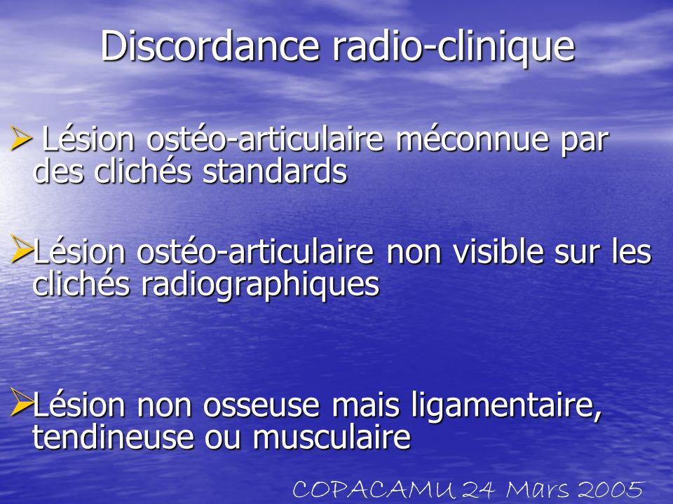 Discordance radio-clinique Lésion ostéo-articulaire méconnue par des clichés standards Lésion ostéo-articulaire méconnue par des clichés standards Lés