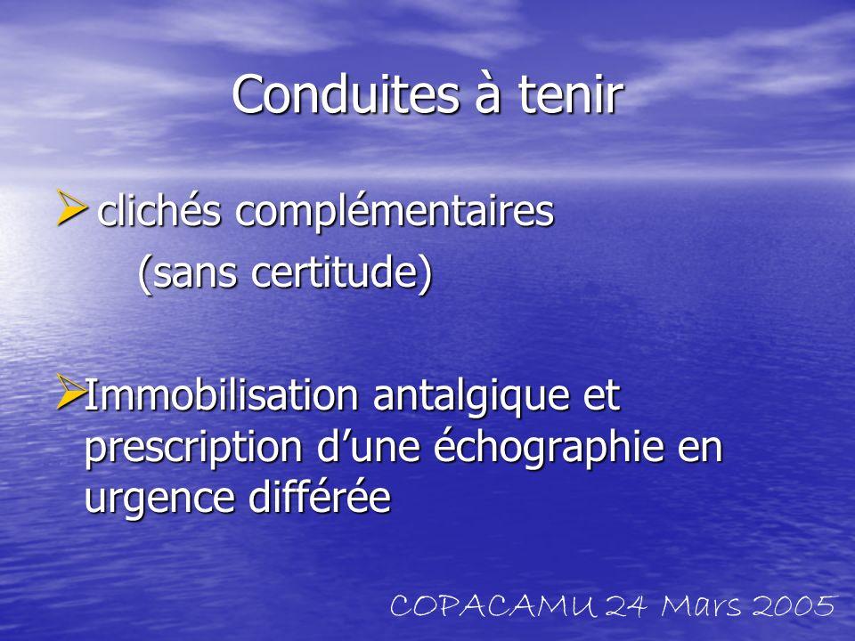 Conduites à tenir clichés complémentaires clichés complémentaires (sans certitude) Immobilisation antalgique et prescription dune échographie en urgen