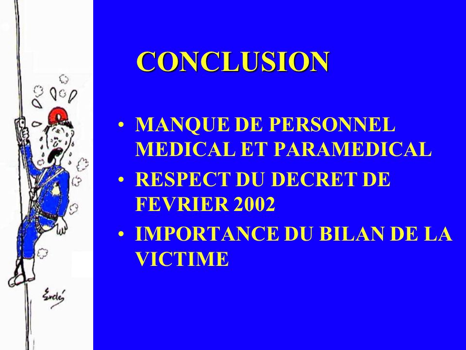 CONCLUSION MANQUE DE PERSONNEL MEDICAL ET PARAMEDICAL RESPECT DU DECRET DE FEVRIER 2002 IMPORTANCE DU BILAN DE LA VICTIME