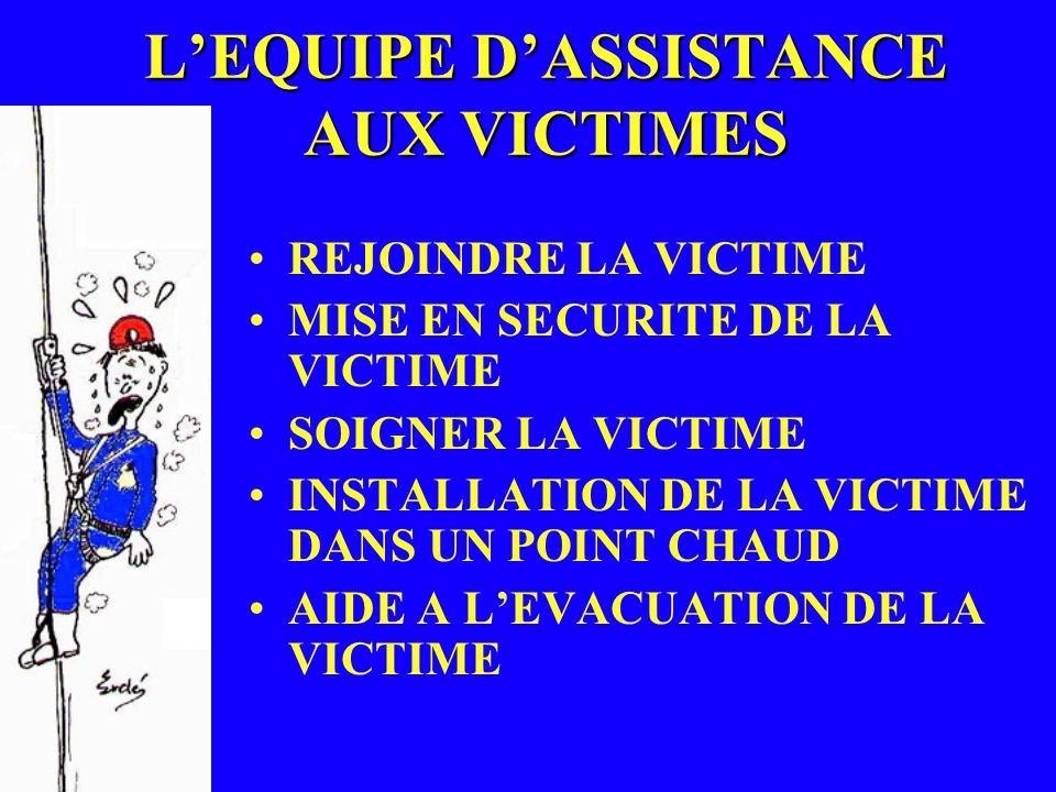 LEQUIPE DASSISTANCE AUX VICTIMES REJOINDRE LA VICTIME MISE EN SECURITE DE LA VICTIME SOIGNER LA VICTIME INSTALLATION DE LA VICTIME DANS UN POINT CHAUD