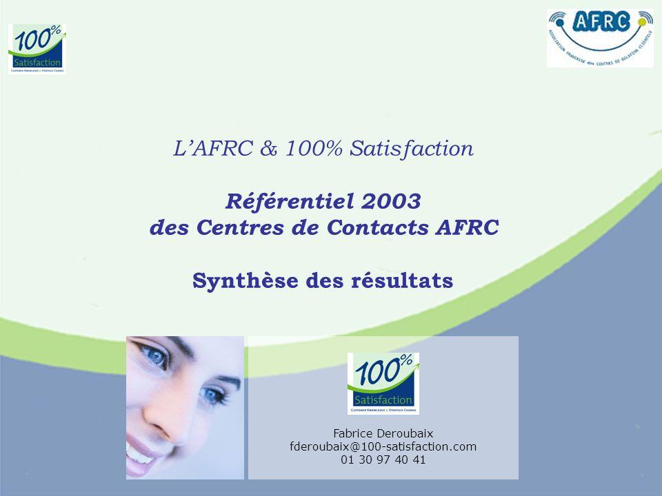 LAFRC & 100% Satisfaction Référentiel 2003 des Centres de Contacts AFRC Synthèse des résultats Fabrice Deroubaix fderoubaix@100-satisfaction.com 01 30 97 40 41