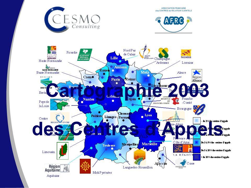 SECA – Cartographie des centres dappels 2003 CESMO Consulting – www.cesmo.fr – Tel : 01 56 56 72 72www.cesmo.fr 2 La méthodologie Une base de données initiale de 4 000 contacts Données en provenance du groupe MM Complétées par lexpertise de lAFRC Et la connaissance du marché de CESMO Avec la participation nouvelle et massive des agences de développement économique Des informations qualifiées auprès de 2 000 responsables auprès de 2 000 responsables de centres de contacts