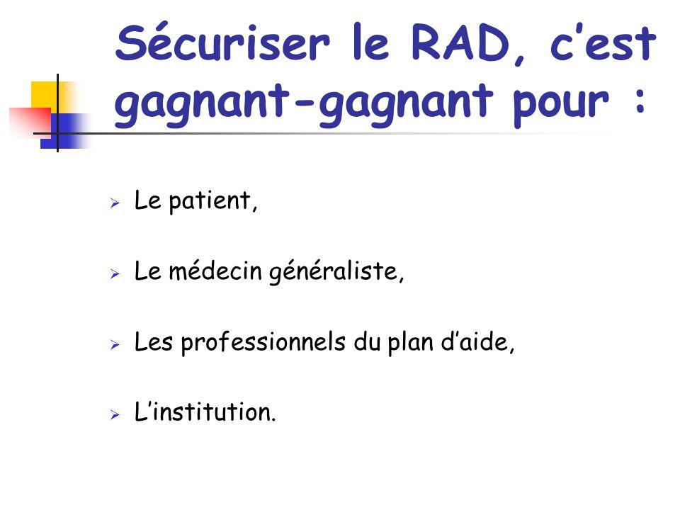 Sécuriser le RAD, cest gagnant-gagnant pour : Le patient, Le médecin généraliste, Les professionnels du plan daide, Linstitution.
