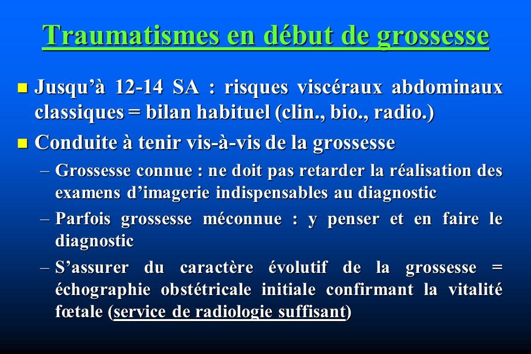 Traumatismes en début de grossesse Jusquà 12-14 SA : risques viscéraux abdominaux classiques = bilan habituel (clin., bio., radio.) Jusquà 12-14 SA :