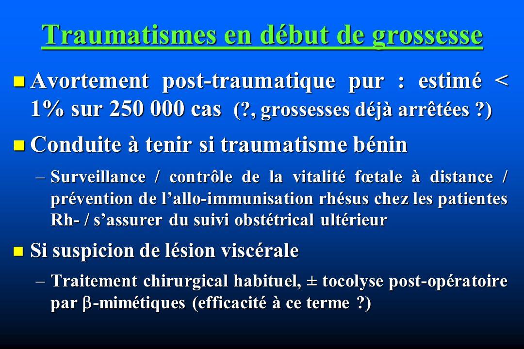 Traumatismes en début de grossesse Avortement post-traumatique pur : estimé < 1% sur 250 000 cas (?, grossesses déjà arrêtées ?) Avortement post-traum