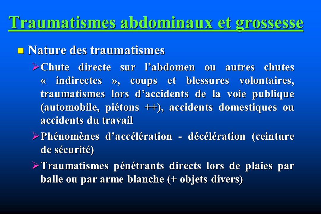 Traumatismes abdominaux et grossesse Nature des traumatismes Nature des traumatismes Chute directe sur labdomen ou autres chutes « indirectes », coups
