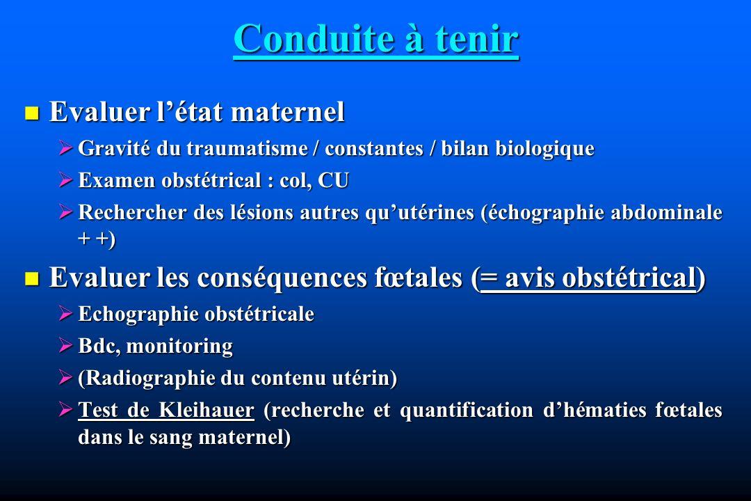 Conduite à tenir Evaluer létat maternel Evaluer létat maternel Gravité du traumatisme / constantes / bilan biologique Gravité du traumatisme / constan