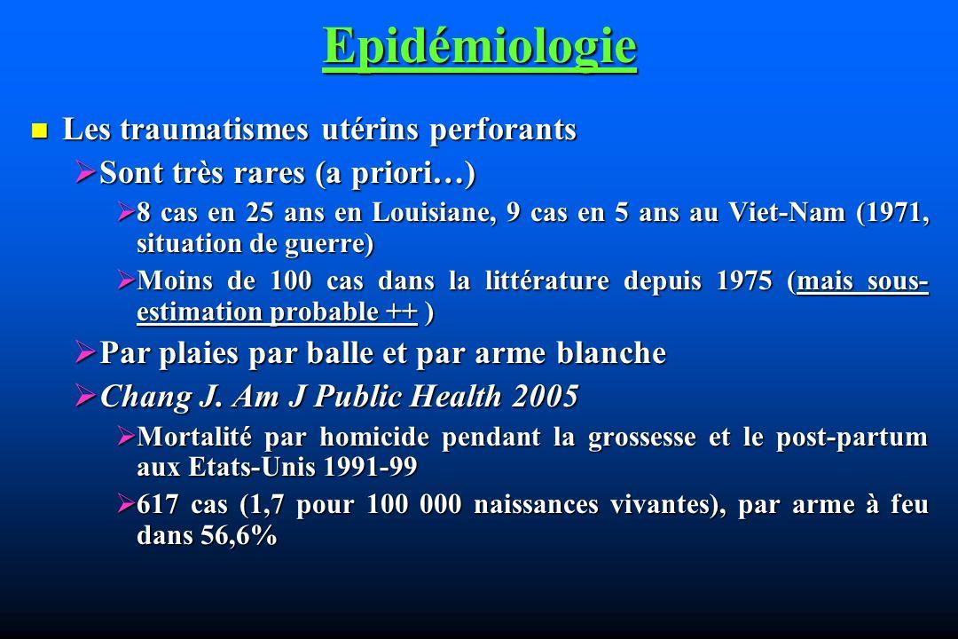 Epidémiologie Les traumatismes utérins perforants Les traumatismes utérins perforants Sont très rares (a priori…) Sont très rares (a priori…) 8 cas en