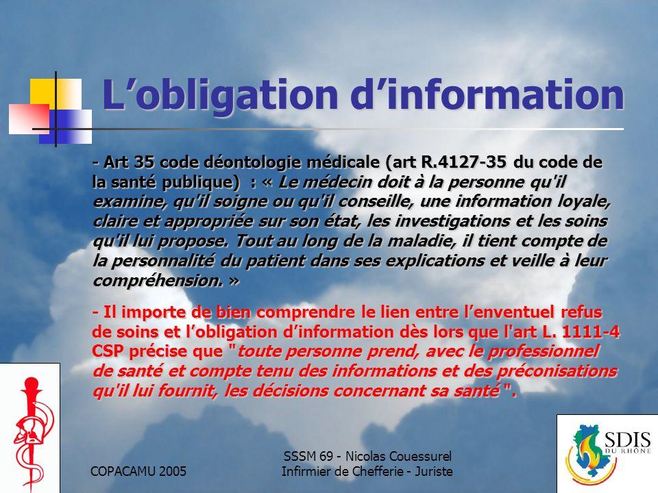 COPACAMU 2005 SSSM 69 - Nicolas Couessurel Infirmier de Chefferie - Juriste Lobligation dinformation - Art 35 code déontologie médicale (art R.4127-35