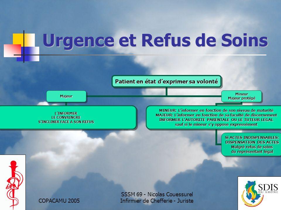 COPACAMU 2005 SSSM 69 - Nicolas Couessurel Infirmier de Chefferie - Juriste Urgence et Refus de Soins Patient en état dexprimer sa volonté Majeur LINF